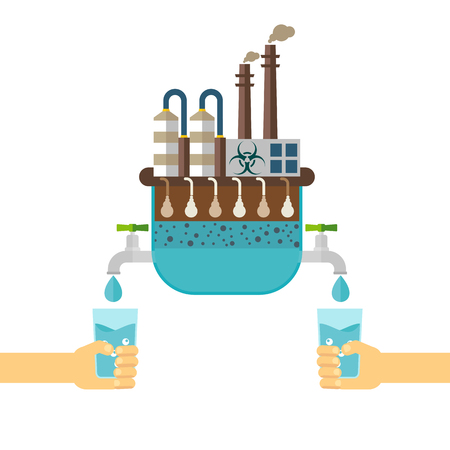 Water filter for water treatment of environmentally hazardous contaminants. Ecology design concept with air, water and soil pollution. Flat icons isolated vector illustration. Иллюстрация