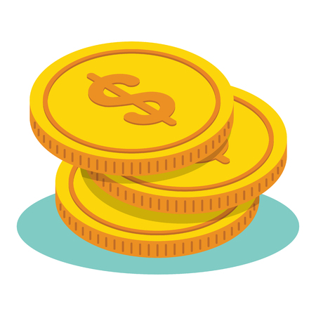 Pile of gold dollar coins. Cash payment. Flat vector cartoon illustration. Objects isolated on white background. Illustration