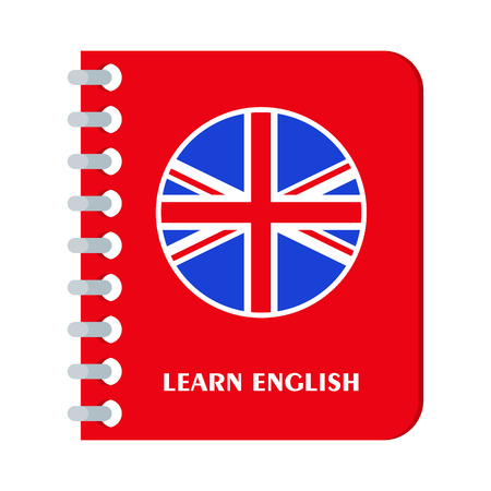 Bright flat  banners with textbook for English language learning.