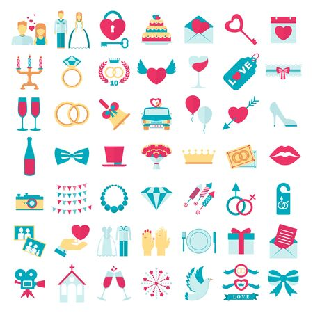 wedding love set icons