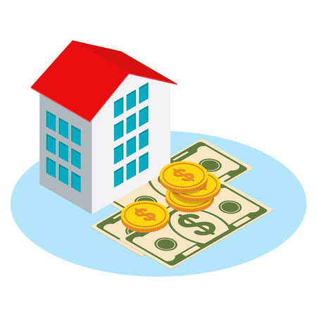 Isometric real estate. House for sale, purchase of private property. Paper cash, home. Flat vector cartoon illustration. Objects isolated on white background. Illustration