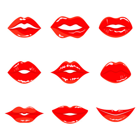 Color sensual red lips vector icon. Vector illustration isolated on a white background. Illustration