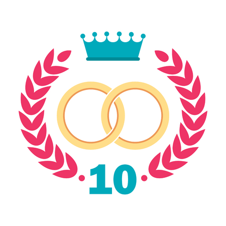 Logo for the anniversary of the wedding. Flat vector cartoon illustration. Objects isolated on white background.