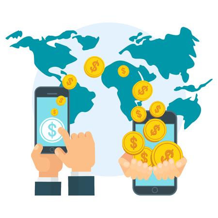 Transferência de dinheiro usando o dispositivo móvel, telefone inteligente com aplicativo de pagamento bancário. Internet banking, pagamento sem contato, transações financeiras em todo o mundo. Conceito de vetor plana no fundo branco.