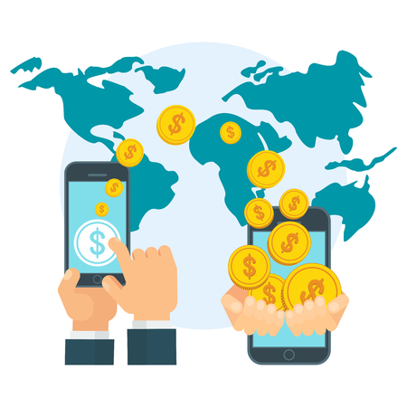Money transfer using mobile device, smart phone with banking payment app. Internet banking, contactless payment, financial transactions around the world. Flat vector concept on white background. Vettoriali