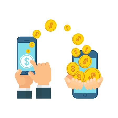 Money transfer using mobile device, smart phone with banking payment app. Internet banking, contactless payment, financial transactions around the world. Flat vector concept on white background. Vector Illustration