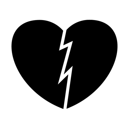 Broken heart flat vector black icon. Objects isolated on white background.