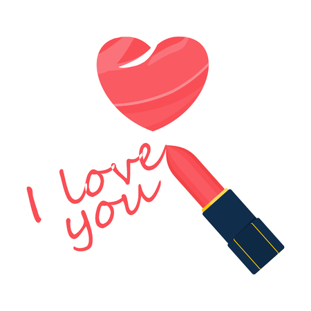 I love you. Text, declaration of love, inscription written of lipstick. Flat vector cartoon illustration. Objects isolated on white background.