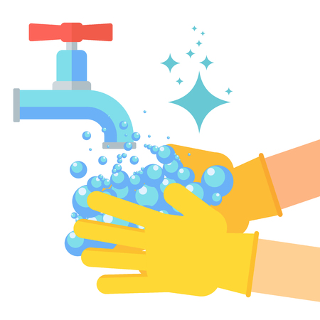 washing hand flat style design