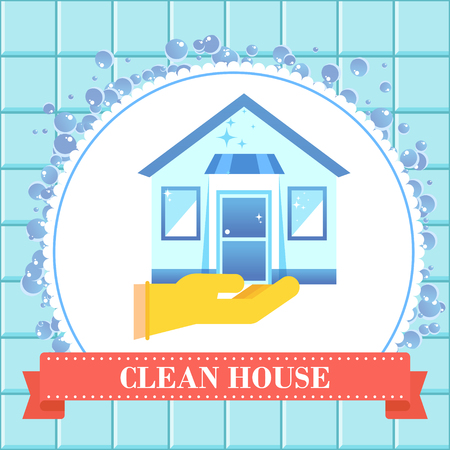 House cleaning concept. Banner for cleaning service. Flat vector Illustration for the site, advertising, flyer and poster. background.