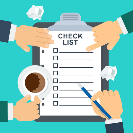 Businessmen put marks in the checklist. Office planning and management. Flat vector cartoon illustration. Objects isolated on white background.