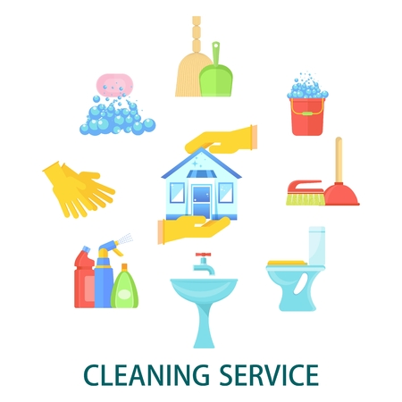 Supplies for cleaning premises, houses and offices. Banner for store of home utensils, site and advertising of cleaning service.