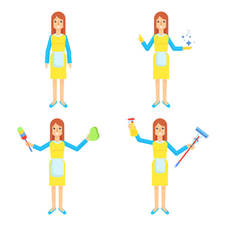 cleaning service woman set