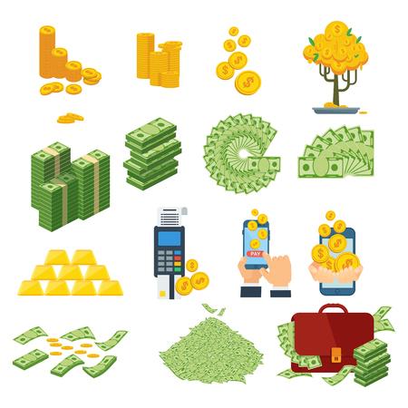 cash paper money set Illustration