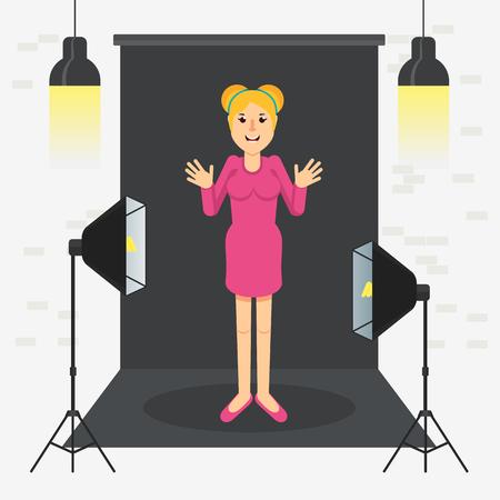 photostudio girl standing Vector illustration.