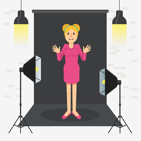 photostudio girl standing Vector illustration.