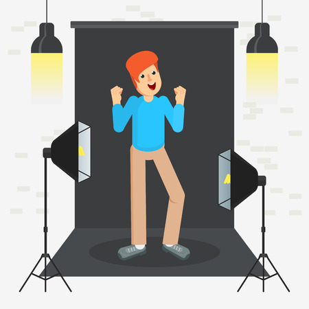 photostudio guy cool Vector illustration. Illustration