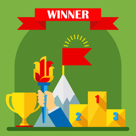 Achievement concept. Regalia of winner. Gold medal, podium of honor, torch of winner of competition. Flat vector cartoon illustration. Objects isolated on background. Illustration