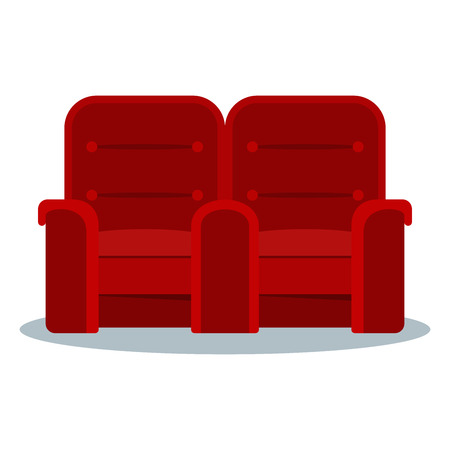 Auditorium and seats in a movie theater. Flat vector cartoon Cinema interior illustration with chair, armchair and sofa. Objects isolated on a white background.