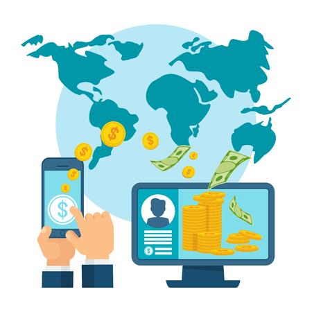 Money transfer using mobile device, computer and smart phone with banking payment app. Internet banking, contactless payment, financial transactions around the world. Flat vector concept.
