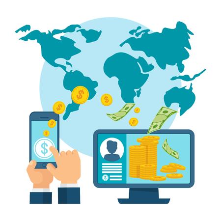Overboeking via mobiel apparaat, computer en smartphone met bankbetalingsapp. Internetbankieren, contactloos betalen, financiële transacties over de hele wereld. Flat vector concept.