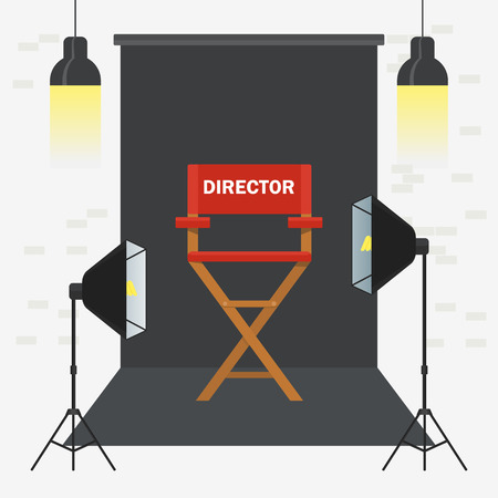 Photo and video porodaction studio poster template. Equipment for photo studio, production of films and advertising. Flat vector cartoon illustration. Objects isolated on a white background. Çizim