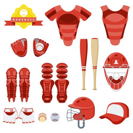 Baseball equipment set. Bat, ball, softball gloves, batting helmets, catcher gear and leg guards. Flat vector cartoon illustration. Objects isolated on a white background.