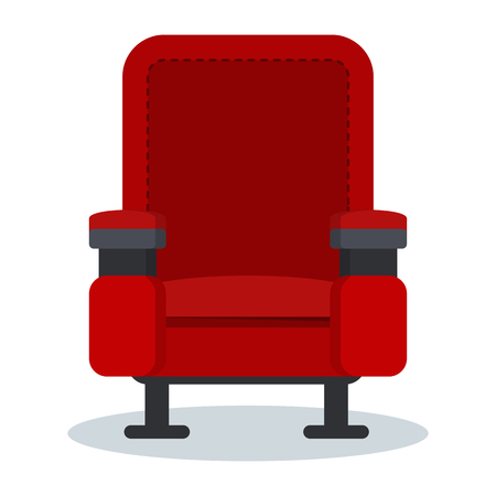 A cinema red chair isolated on plain background.