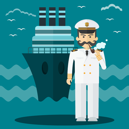 Captain of ship in white suit. Command of military cruiser, a cruise liner. Flat vector cartoon illustration.