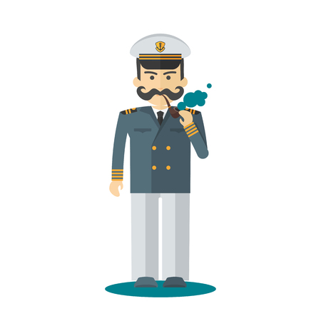 Cruise ship captain with pipe character illustration.