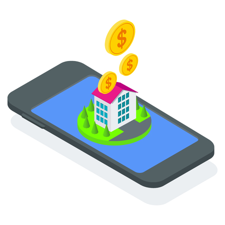 Isometric concept of buying property in mobile app. Flat vector cartoon illustration. Objects isolated on white background.
