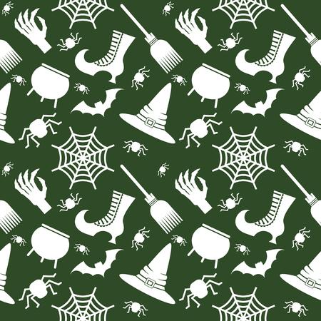 Halloween seamless pattern green