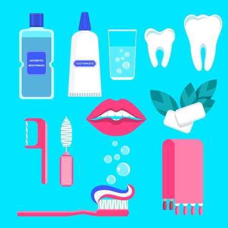 Dental care icons set.