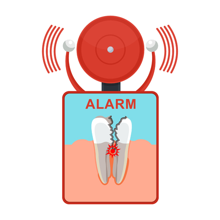 Tooth damaged alarm. Banque d'images - 98340641
