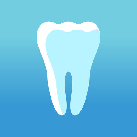 Tooth white icon. Flat vector cartoon illustration. Objects isolated on blue background.
