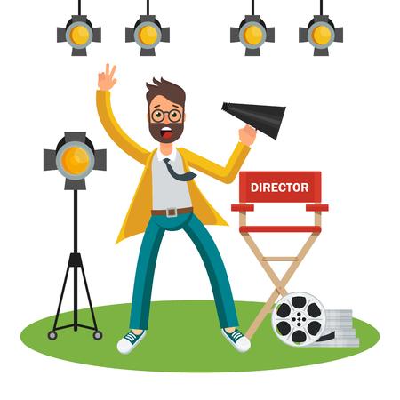 Film director on set n cartoon Illustration. Stock Illustratie