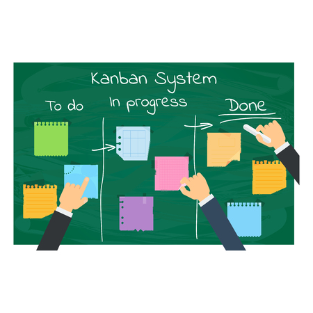 Kanban Project Management System. Flat vector cartoon illustration. Objects isolated on white background. Vettoriali