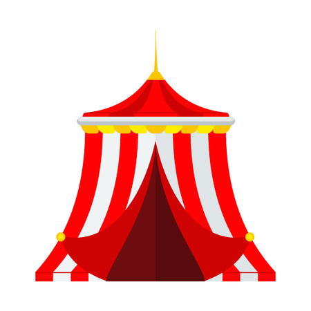 Circus show in the amusement park. Flat vector cartoon illustration. Objects isolated on white background. Vectores