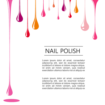 Drops of nail polish poster on white template Illustration