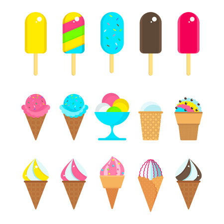 Set of different kinds of ice cream vectors.