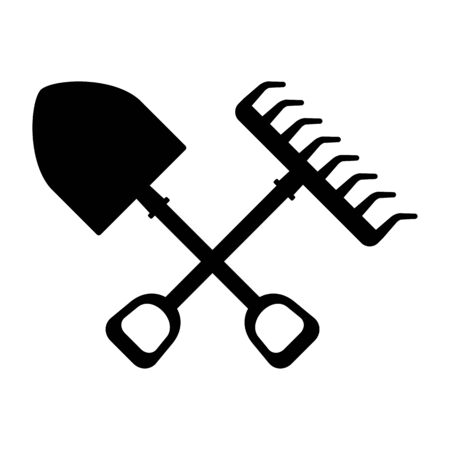 Garden tools for working in garden in farm. Flat vector cartoon illustration. Objects isolated on a white background. Illustration
