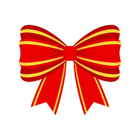 Vector red bow for decorating gifts, surprises for holidays.