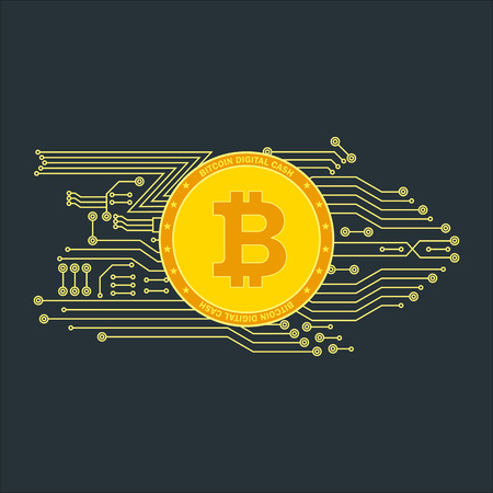 Bitcoin sign with computer chip. Color pattern. Farm for the production of crypto currency, mining. Virtual money. Flat vector cartoon illustration. Objects isolated on white background.
