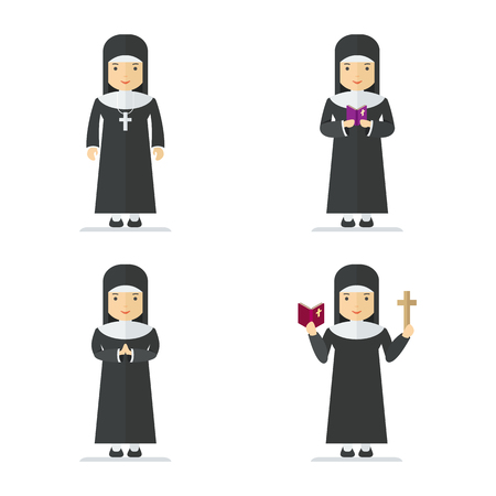 Set of Catholic nun. Woman holding cross and bible and gospel, bless parishioners. Flat vector cartoon illustration. Objects isolated on a white background.