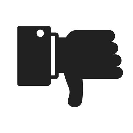 Dislike black icon. A gesture of rejection, discontent, dislike and disagreement. Social networks, signs of virtual communication. Flat vector cartoon illustration. Objects isolated on background.