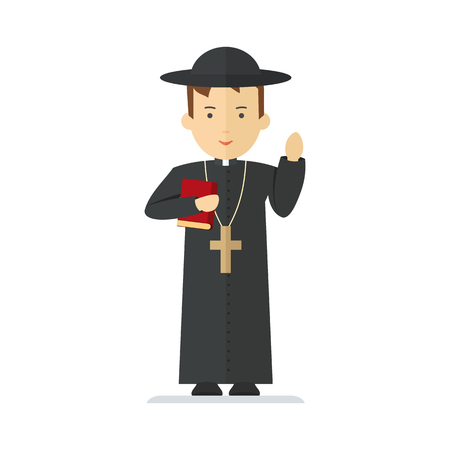 Catholic priest. Pastor reads prayer, holds cross, bible and gospel, bless parishioners. Flat vector cartoon illustration. Objects isolated on a white background.