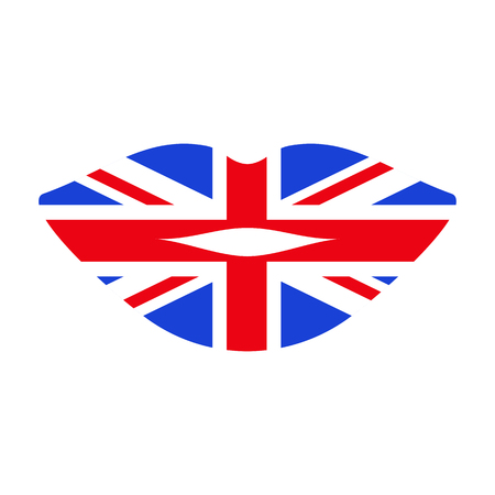 Great Britain flag shaped into lips Vector illustration.