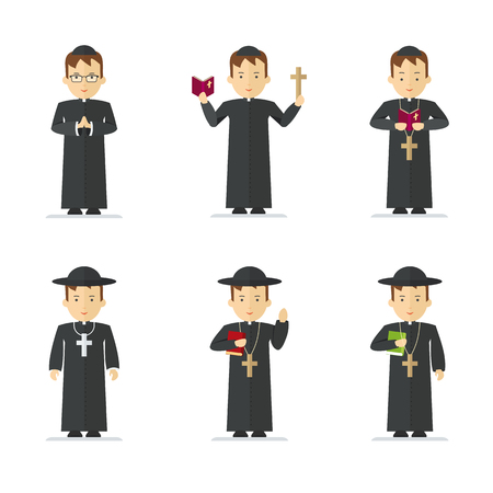 Set of Catholic priest. Pastor reads prayer, holds cross, bible and gospel, bless parishioners. Flat vector cartoon illustration. Objects isolated on a white background.