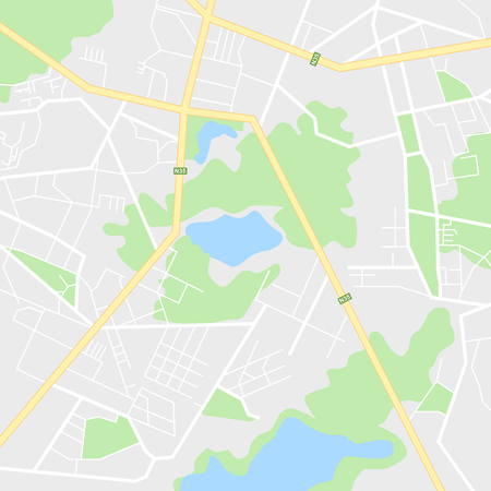 Map of the city, locality. Color scheme background. GPS navigation, along the road and streets. Flat vector cartoon illustration.