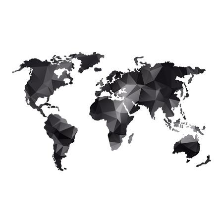Low poly global world map in grayscale illustration. Ilustração
